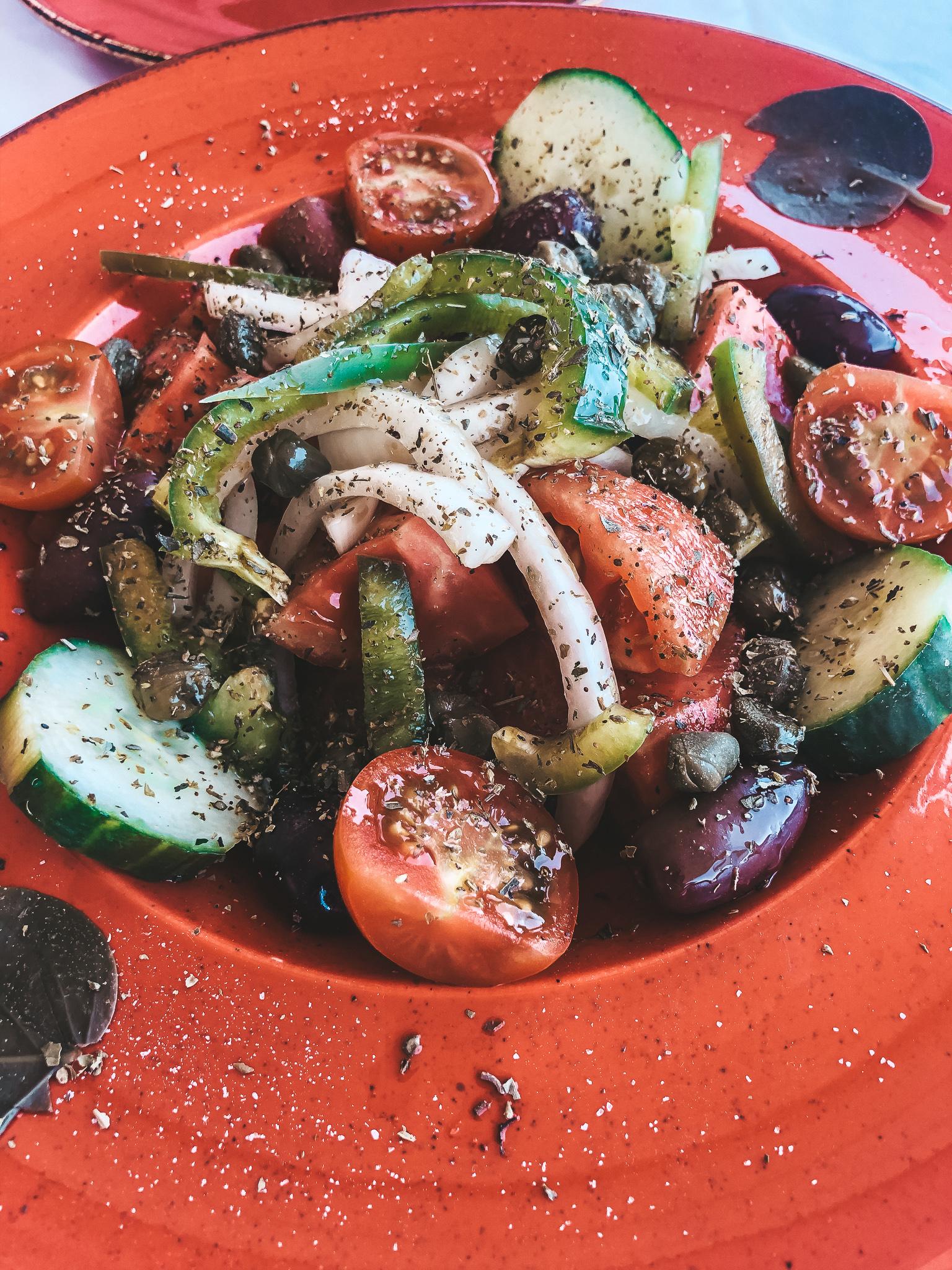 A Greek Salad in Oia Santorini