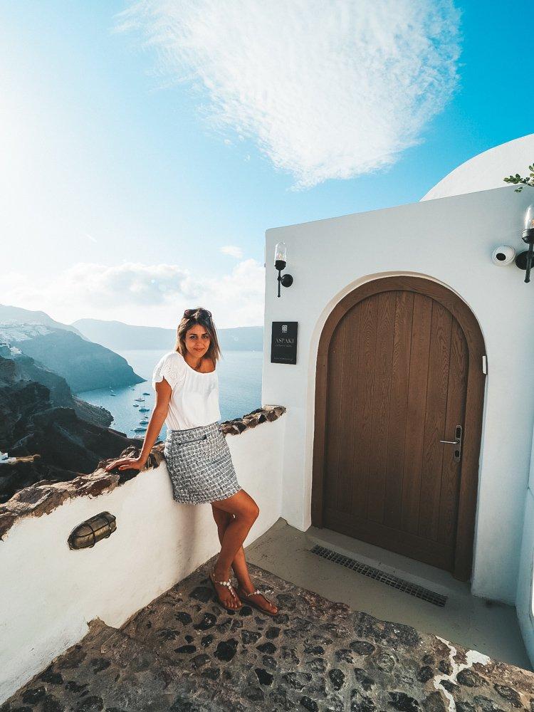 Standing Outside Aspaki Hotel in Oia Santorini
