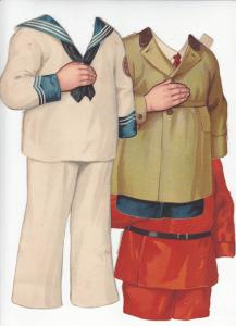 Hans tre sæt tøj, det røde sæt bagest er det samme som på æsken!