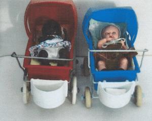 Til slut takker jeg Lilian skov for fotos af dine søde Rosebud-dukker: Køretøjerne er fra Vibo: Rød og blå barnevogn, rickshaw-køretøj og trehjulet cykel!