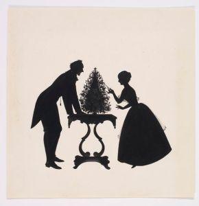 Silhouette Jenny Lind & H.C. Andersen. Tegnet af ukendt kunstner!