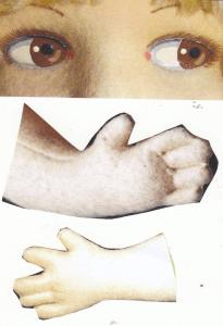 """Typiske Raynaløjne med den røde prik i øjenkrogen, desuden øverst de første """"vante-hænder"""" og nederst hænder i finere udførelse med spredte fingre! (Billeder fra nettet)!"""