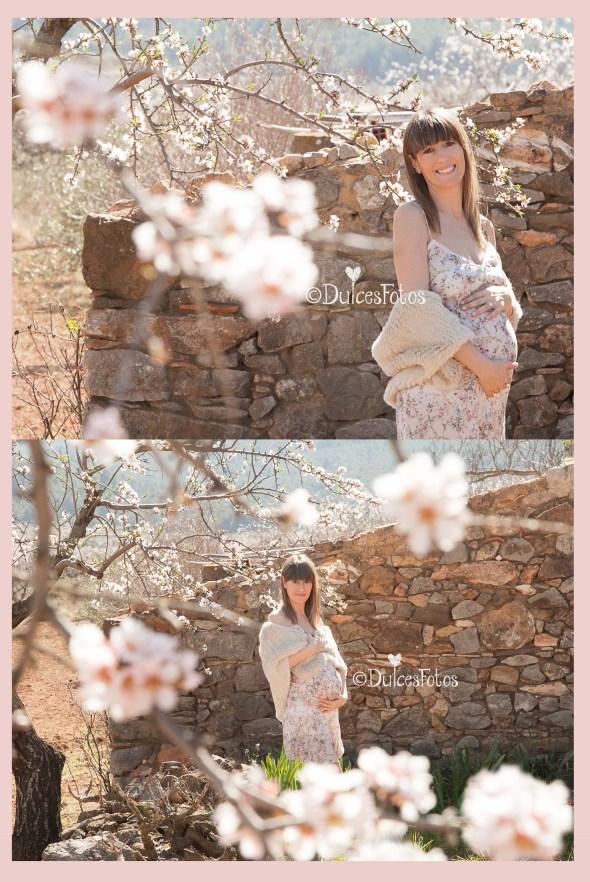 embarazada en campo de almendros1