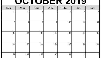 Free Editable October Calendar 2019 Blank Template