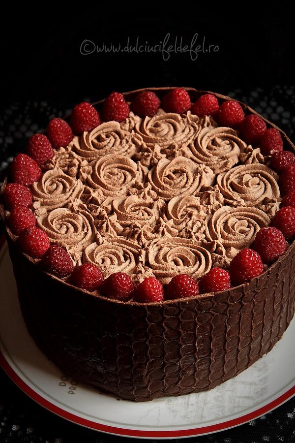 Tort cu zmeura si crema de ciocolata