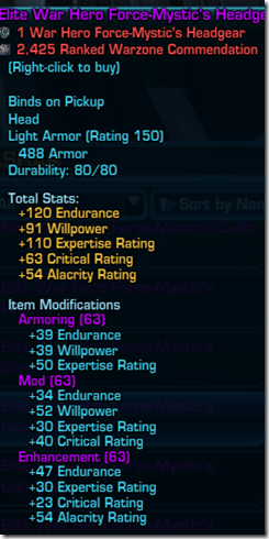 SWTOR Patch 16 Elite War Hero Armor InquisitorConsular Stats Dulfy