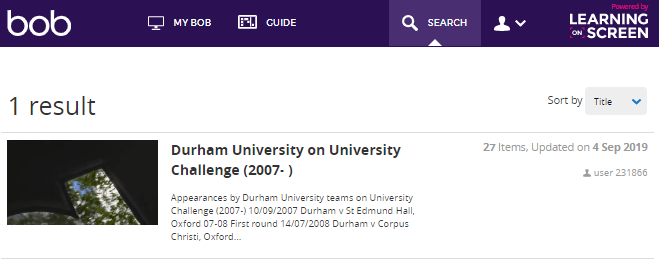 Durham University on University Challenge (2007- )