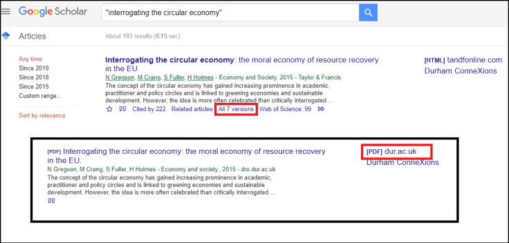 Google Scholar: Versions
