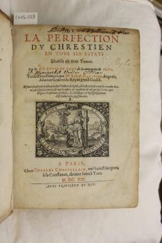 Title page of a seventeenth century devotional book printed in Paris