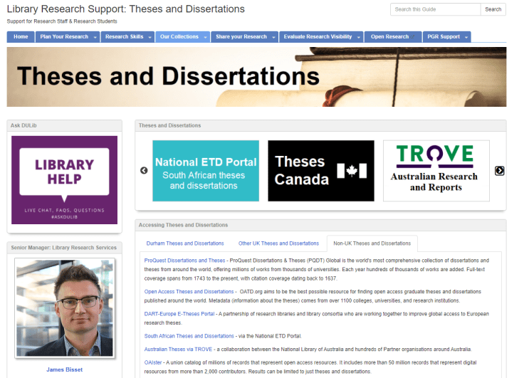 Screenshot of Durham University Library Guide for Dissertations and Theses. Shows range of theses resources available.