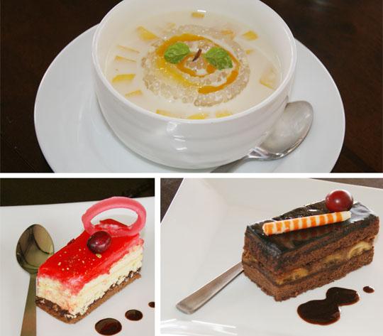 Sagu and cake at Mango Garden Restaurant