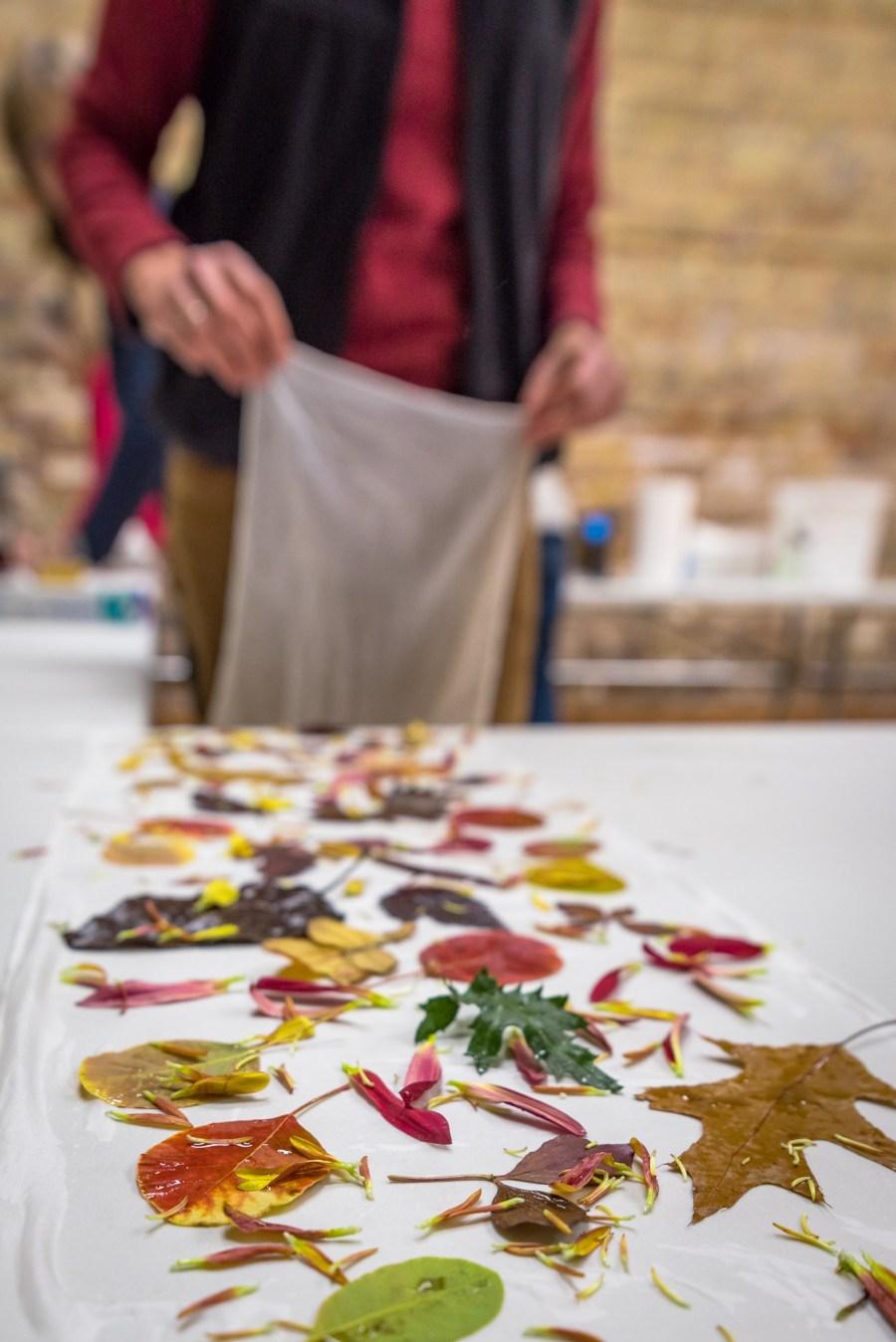 Ecoprint Silk Scarves at Duluth Folk School