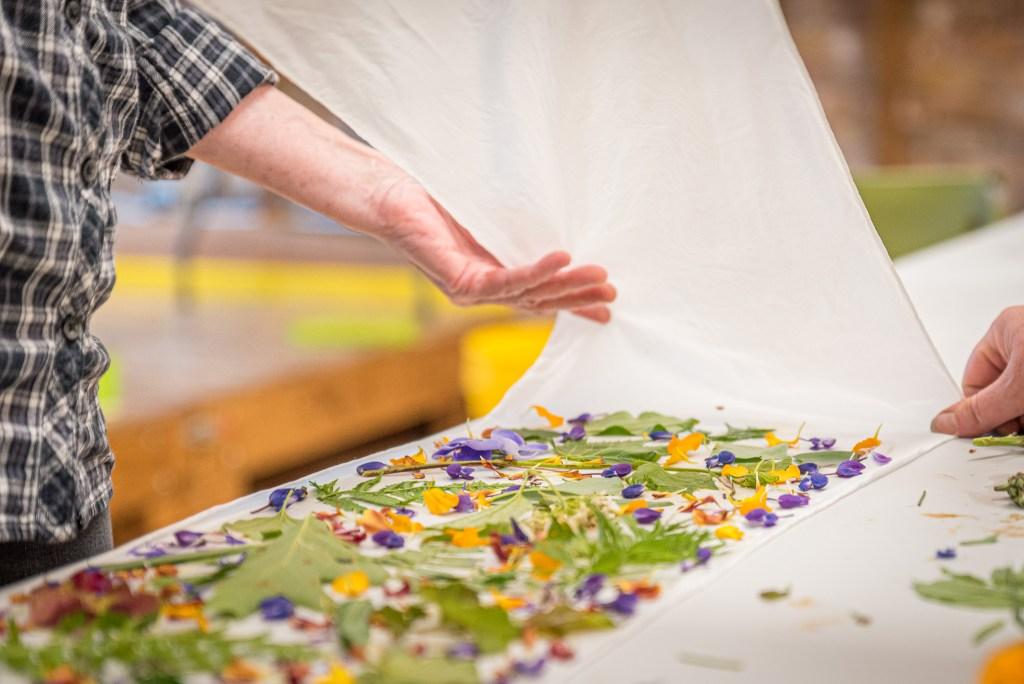 Ecoprinting Silk Scarves at Duluth Folk School