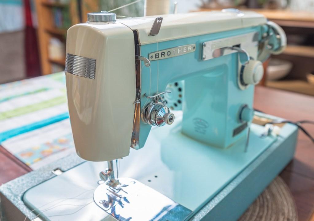 Close up photo of sewing machine