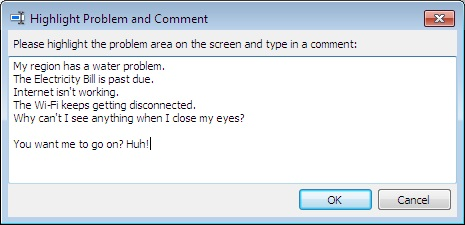image of an Add Comment Box in Steps Recorder