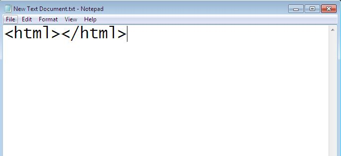 image of html opening and closing tag element on notepad
