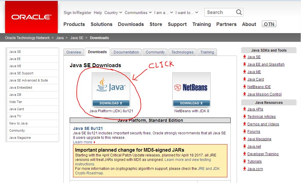 page to download oracle java from