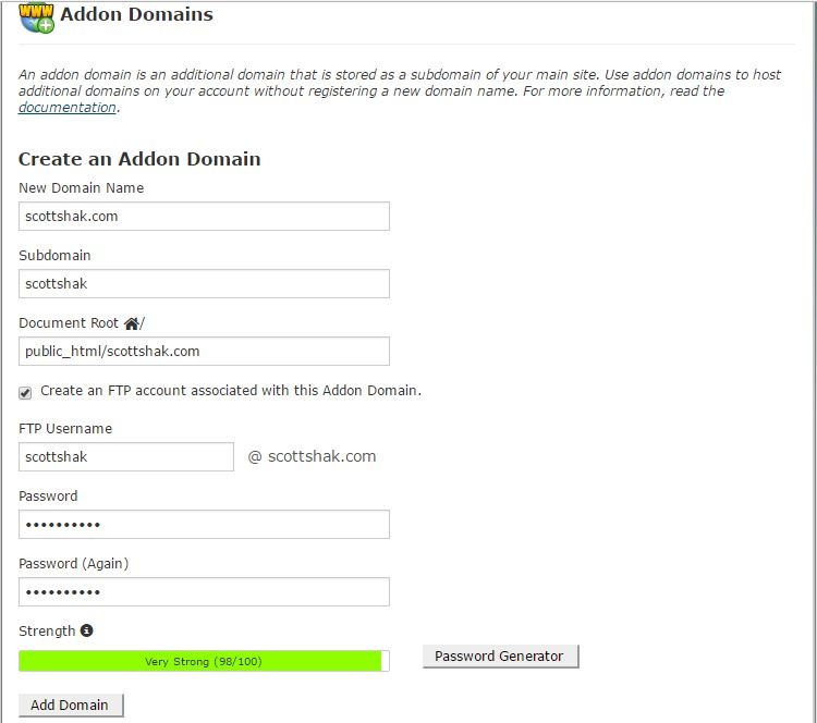Addon Domains Page to enter domain name