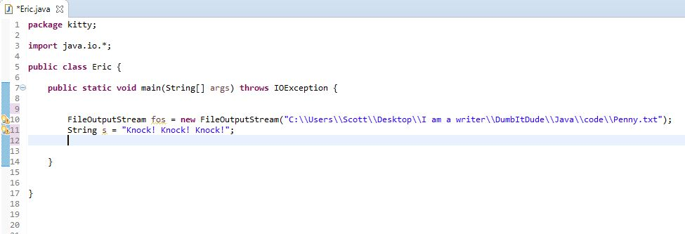 declaring String in Java for FileOutputStream