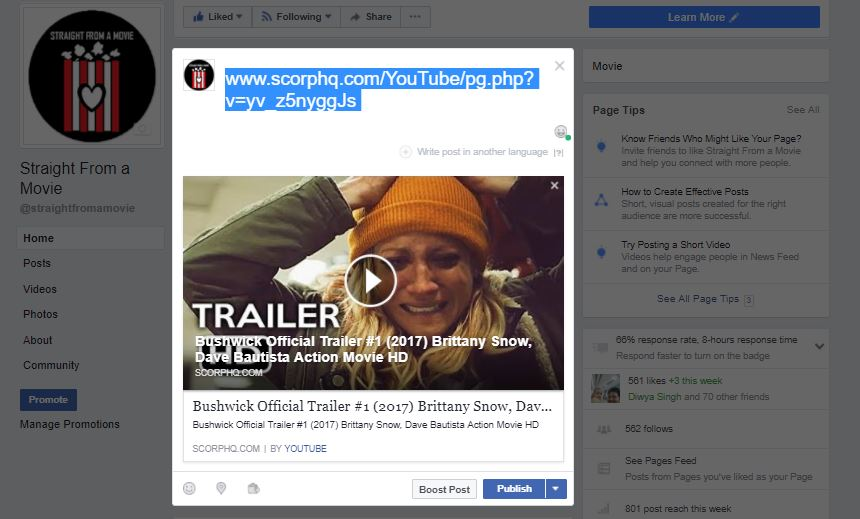 sharing a youtube video in full thumbnail size