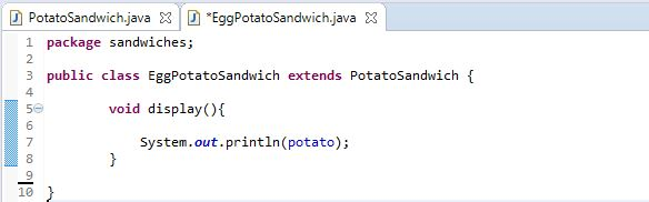 Creating EggPotatoSandwich class in a separate file