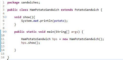 image for HamPotatoSandwich Class in Java