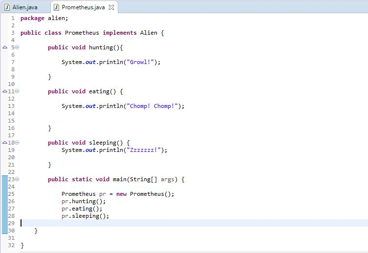 class implementing interface in java