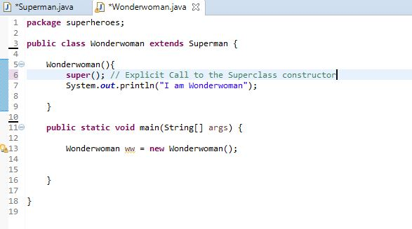 image for explicit call made to the superclass constructor