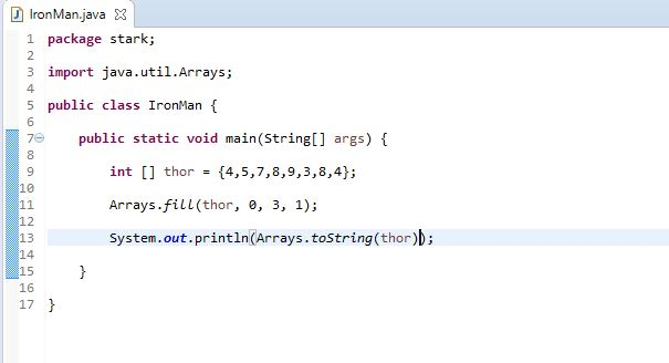 using fill method to populate an array in java
