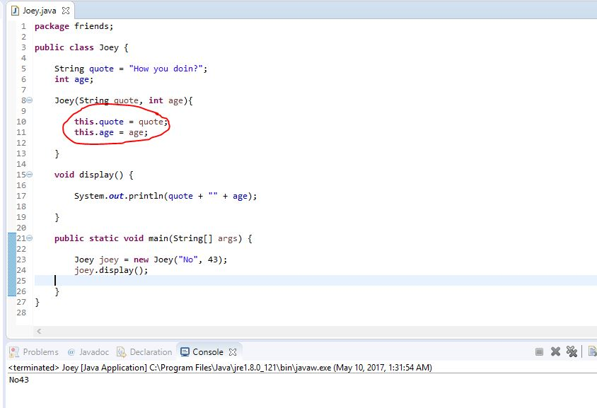result with this java keyword