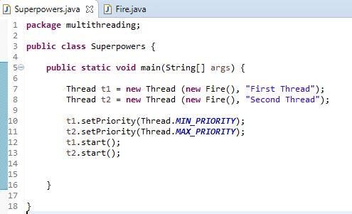 priorities thread example in java