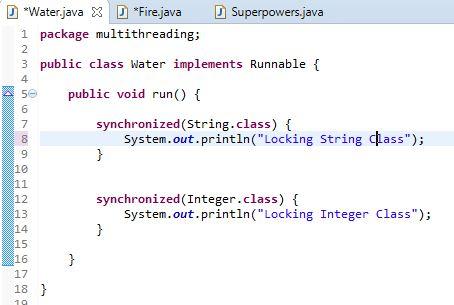 Water class run example in java