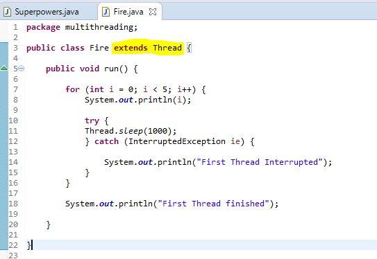 extending Thread class in Java