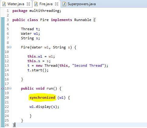 synchronized method example in java