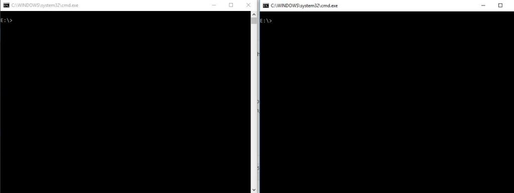 two command prompt windows