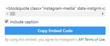 copy embed code option in instagram