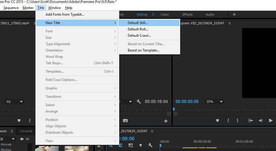 default still title option in premiere pro