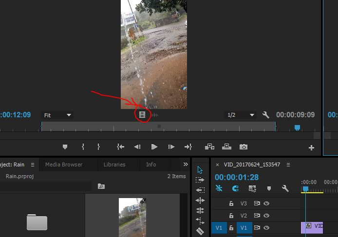 drag only video sign in premiere pro