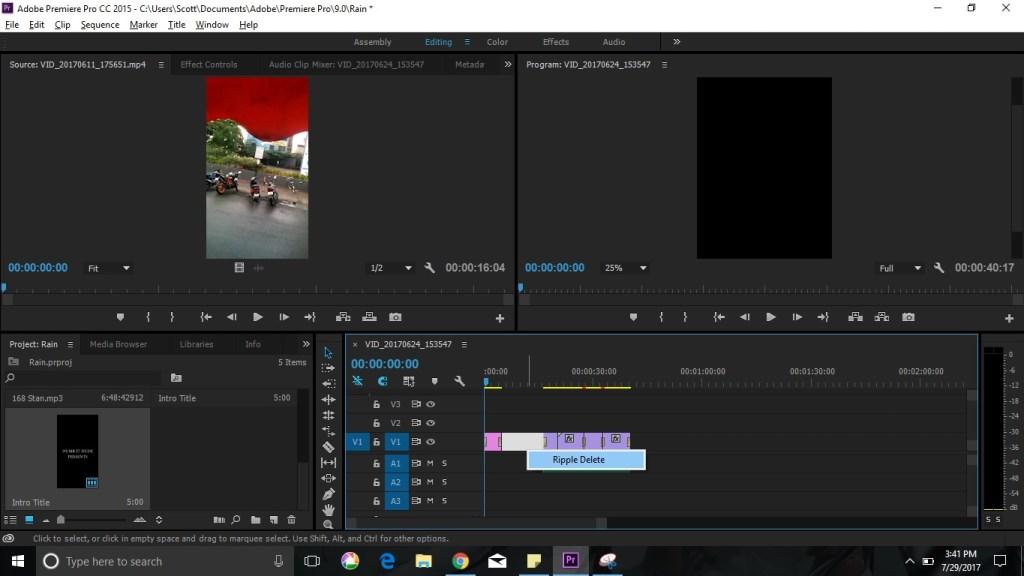 ripple delete option in premiere pro