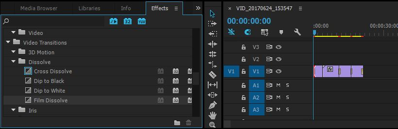 video transitions in effects panel