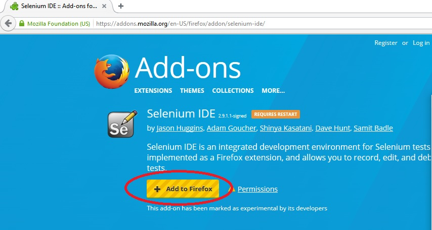 selenium ide add to firefox option