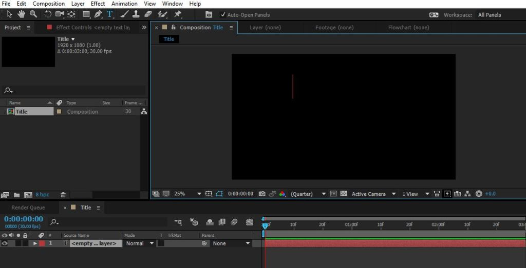 clicking in the black area of After Effects Composition