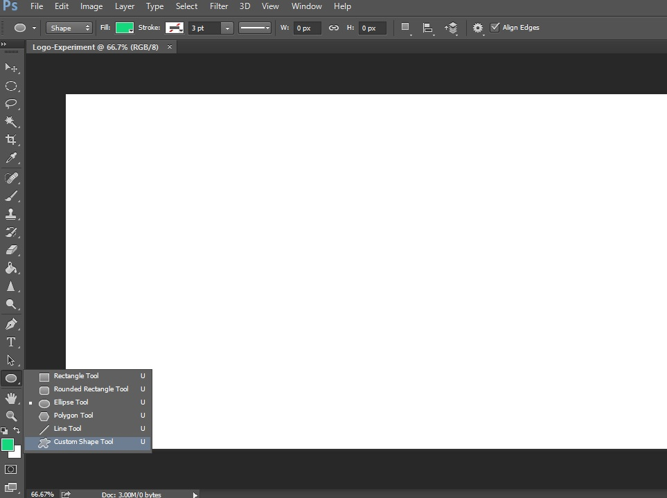 custom shape tool option in photoshop