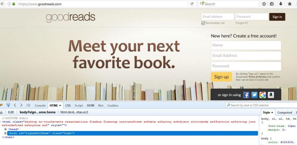 goodreads and firebug