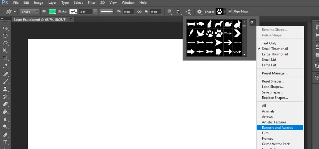 how to get more Shapes option in photoshop