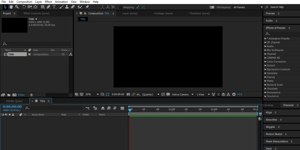 new composition in after effects