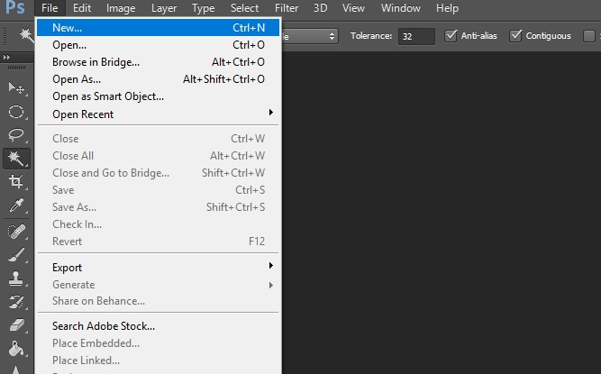 new option in file of photoshop