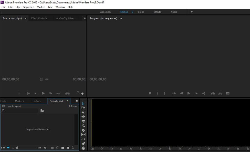 adobe premiere pro opening screen