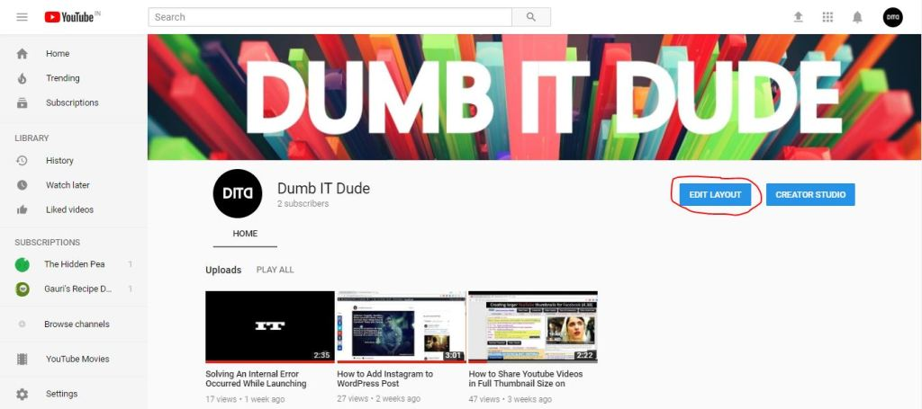 Edit Layout button on Youtube My Channel screen