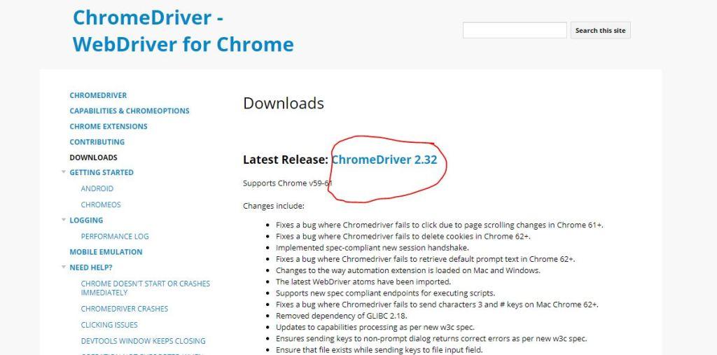 chromedriver download link